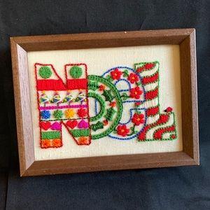 """Hand Embroidered Christmas Noel Art Framed Art 8"""""""